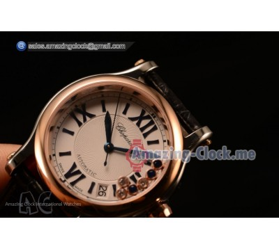 HAPPY SPORT II 1:1 ORIGINAL ROSE GOLD BEZEL STEEL WATCH -  47450/000A-9039