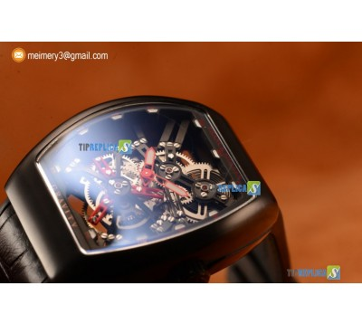 VANGUARD MIYOTA AUTOMATIC COPY TOURBILLON PVD CASE WITH SKELETON DIAL LEATHER/RUBBER STRAP