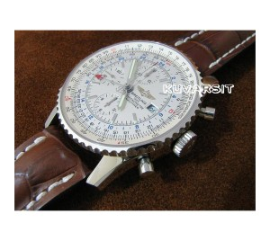 REPLICA NAVITIMER WORLD GMT SS/WHITE. AUTOCHRONO