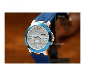 ULYSSE NARDIN NEW DESIGN EXECUTIVE DUAL TIME AND GMT. ROSE GOLD/BLUE