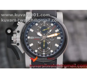 GRAHAM CHRONOFIGHTER OVERSIZE SS CASE GRAY DIAL 1:1 BEST EDITION ON BLACK RUBBER STRAP