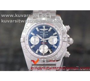 BREITLING CHRONOMAT B01 SS CASE AND BLACK TEXTURED DIAL INNER WHITE BEZEL GF 1:1 BEST EDITION  ON SS BRACELET A7753