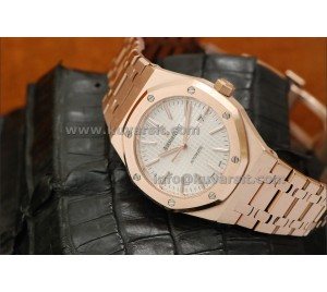 AUDEMARS PIGUET ROYAL OAK 15400 41MM RG-WHITE . BEST EDITION. A2824