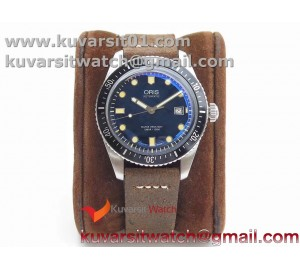 ORIS DIVERS 7720 SS ZZF 1:1 BEST EDITION BLUE DIAL ON BROWN LEATHER STRAP A2836