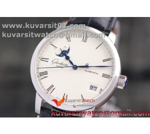 GLASHUTE EXCELLENCE PANORAMA DATE MOON PHASE SS GF 1:1 BEST EDITION WHITE DIAL ON BLACK LEATHER STRAP A100