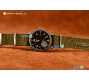 PILOT'S WATCH MARK XVIII MIYOTA 9015 AUTOMATIC STEEL CASE BLACK DIAL WITH ARABIC NUMERAL MARKERS GREEN NYLON STRAP