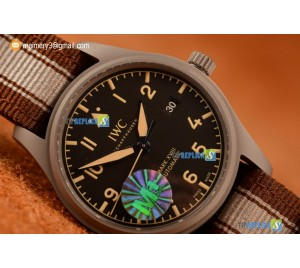 PILOT'S WATCH MARK XVIII MIYOTA 9015 AUTOMATIC STEEL CASE BLACK DIAL WITH ARABIC NUMERAL MARKERS BROWN/WHITE NYLON STRAP