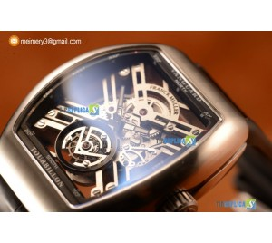 VANGUARD MIYOTA AUTOMATIC COPY TOURBILLON STEEL CASE WITH SKELETON DIAL LEATHER/RUBBER STRAP