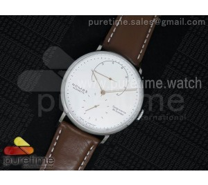 Lambda SS White Dial on Brown Leather Strap A1001