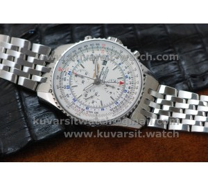 1:1 BREITLING NAVITIMER  GMT SS/SS WHITE A7750 FROM JF
