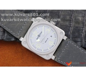 BELL&ROSS BR03-92 HOROLUM SANDBLASTED SS/LE GRAY MIYOTA 9015 (FREE TOOL AND NYLON STRAP)