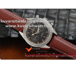 OMEGA SPEEDMASTER MOONWATCH CO-AXIAL '57 SS CHRONO BLACK DIAL BROWN LEATHER.A9300