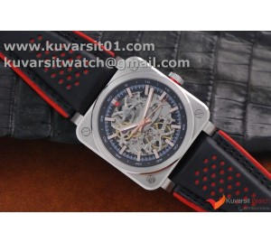 BELL & ROSS BR 03-92 SS CASE 42.5MM DARK SKELETON DIAL RG MARKERS ON RUBBER STRAP MIYOTA 9015