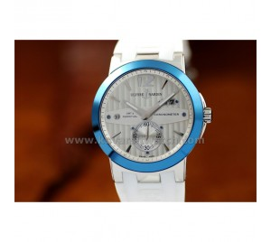 ULYSSE NARDIN NEW DESIGN EXECUTIVE DUAL TIME WHITE. BLUE BEZEL