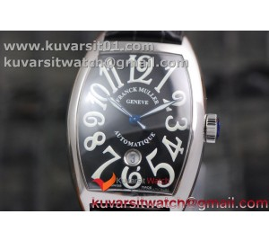 FRANCK MULLER CASABLANCA WITH DATE SS GF 1:1 BEST EDITION BLACK DIAL ON BLACK LEATHER STRAP A2824