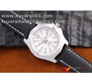 BREITLING COLT AUTOMATIC 44MM SS  WHITE TEXTURED DIAL ON BLACK LEATHER STRAP A2824