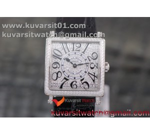 MASTER SQUARE SS LADIES GF 1:1 BEST EDITION BLACK COLOR NUMERAL DIAMOND  DIAL/BEZEL ON BLACK LEATHER STRAP RONDA QUARTZ