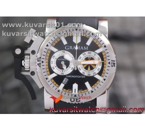 GRAHAM CHRONOFIGHTER OVERSIZE SS CASE BLACK DIAL 1:1 BEST EDITION ON BLACK STRAP