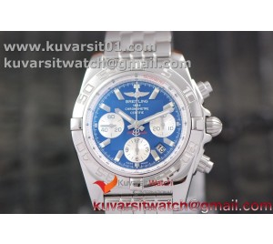 BREITLING CHRONOMAT B01 SS CASE AND BLUE TEXTURED DIAL INNER WHITE BEZEL GF 1:1 BEST EDITION  ON SS BRACELET A7753
