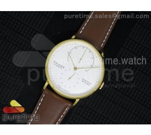 Lambda YG White Dial on Brown Leather Strap A1001
