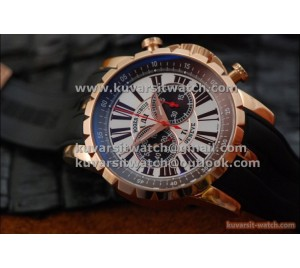 "1:1 ROGER DUBUIS CHRONOEXCEL CHRONOGRAPH ROSE GOLD-WHITE AND BROWN DIAL FROM "" V6 "" A7750"