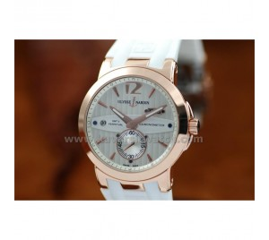 ULYSSE NARDIN NEW EXECUTIVE ALL WHITE AND ROSE GOLD DUAL TIME GMT