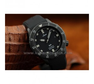 SINN U1 HOUR GLASS U-BLACK LIMITED EDT. CARBON MATTE BLACK PVD. SWISS ETA