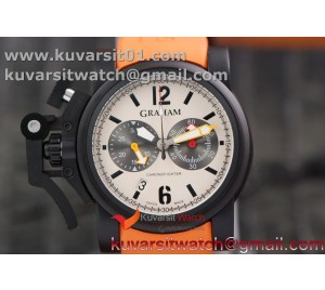GRAHAM CHRONOFIGHTER OVERSIZE PVD CASE WHITE DIAL 1:1 BEST EDITION ON ORANGE RUBBER STRAP