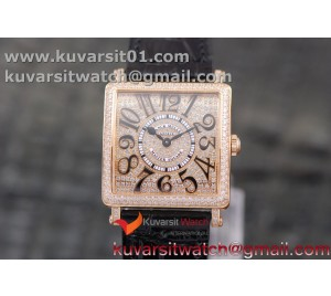 MASTER SQUARE RG LADIES GF 1:1 BEST EDITION BLACK COLOR NUMERAL DIAMOND  DIAL/BEZEL ON BLACK LEATHER STRAP SWISS QUARTZ