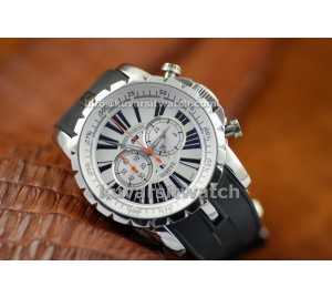 .REPLICA ROGER DUBUIS EASY DIVER EXCALIBUR - SS/WHITE-RUBBER