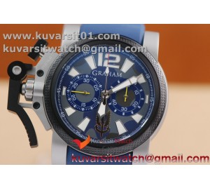 GRAHAM CHRONOFIGHTER OVERSIZE SS CASE BLUE DIAL 1:1 BEST EDITION BLUE ON BLUE RUBBER STRAP