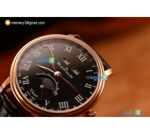 VILLERET MIYOTA 9015 AUTOMATIC ROSE GOLD CASE WITH BLACK DIAL ROMAN AND BLACK LEATHER STRAP (EF)