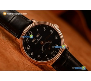 VILLERET MIYOTA 9015 AUTOMATIC ROSE GOLD CASE WITH BLACK DIAL ARBIC AND BLACK LEATHER STRAP (EF)