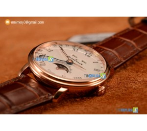 VILLERET MIYOTA 9015 AUTOMATIC ROSE GOLD CASE WITH WHITE DIAL ROMAN AND BROWN LEATHER STRAP (EF)